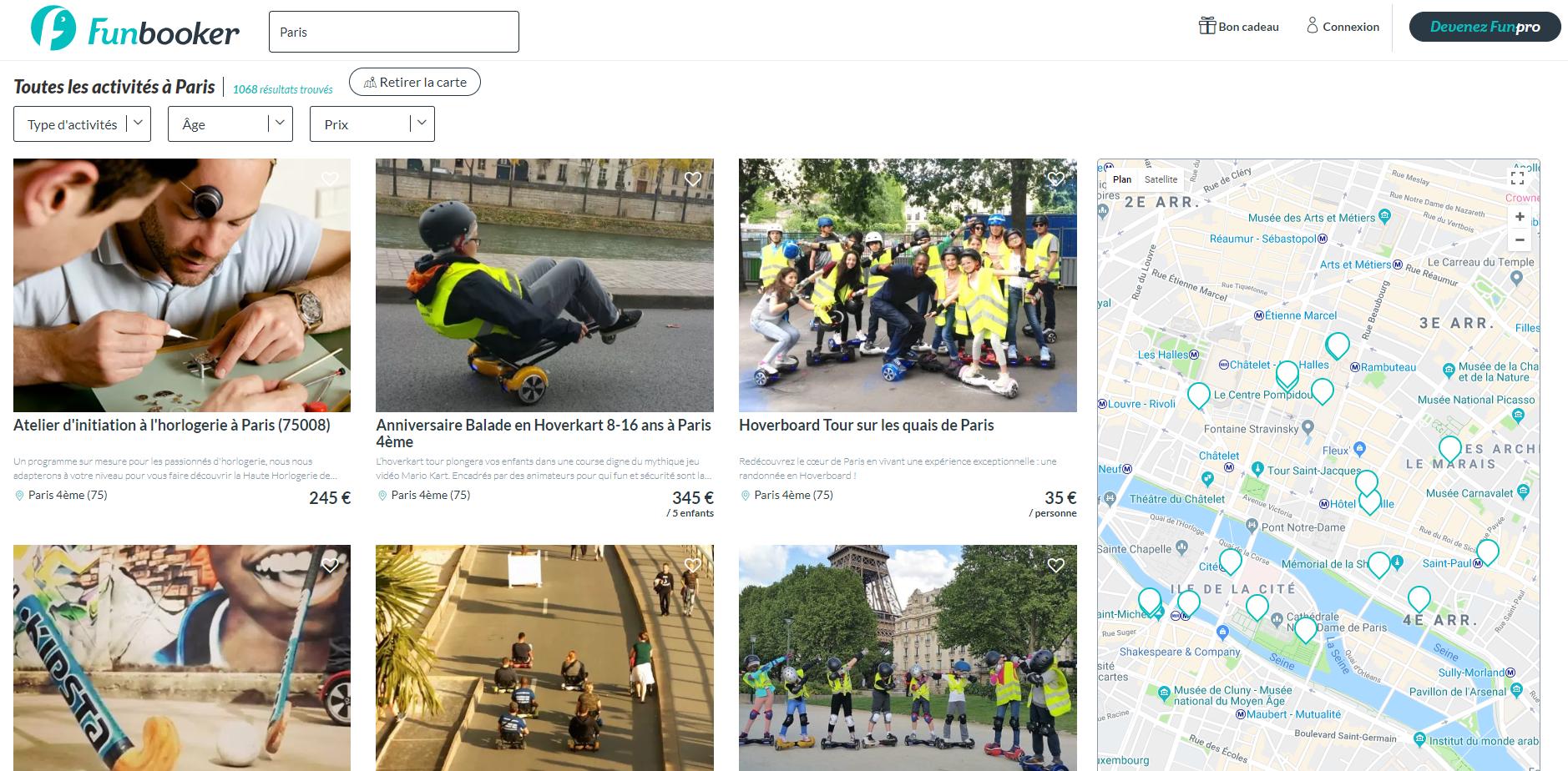 Funbooker: l'interface de recherche